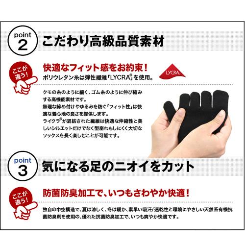 【片足1枚から送料無料】親指補強 すべり止め付 5本指 クルー丈 片足 右 左 靴下 メンズ サイズ 22〜29cm カラー3色 / ケンビースポーツ 日本製