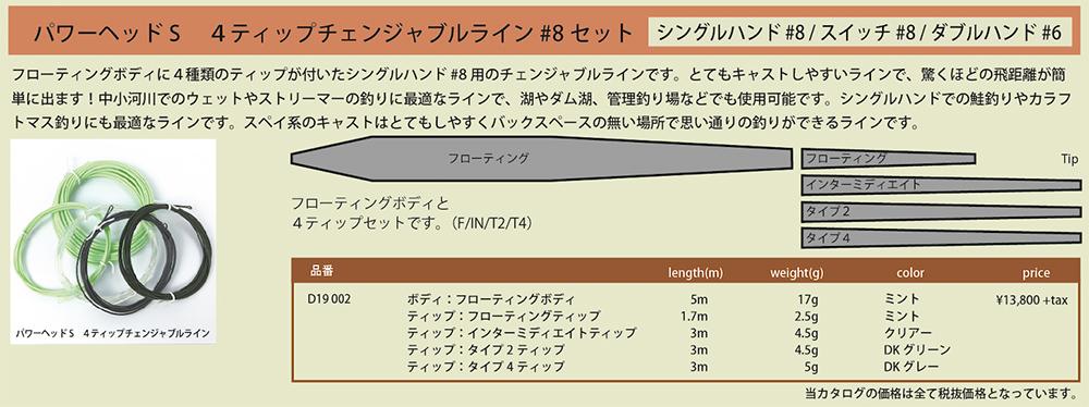 パワーヘッド S 4ティップチェンジャブルライン【ボディー&ティップセット】(シングルハンド8番/ダブルハンド6番用) [D19 002]