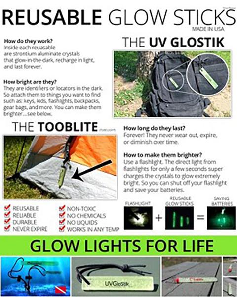 「GLOW STICKS UV PAQLITE」 超強力!蓄光キーホルダー アメリカン雑貨 Made in USA【GLW 001】