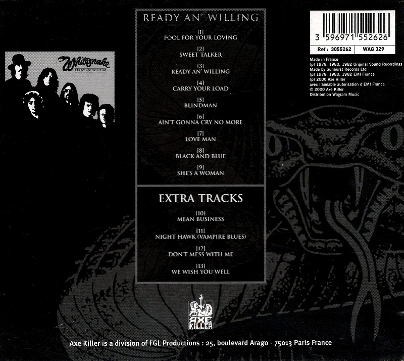 WHITESNAKE/READY AN' WILLING ホワイトスネイク LIMITED EDITION