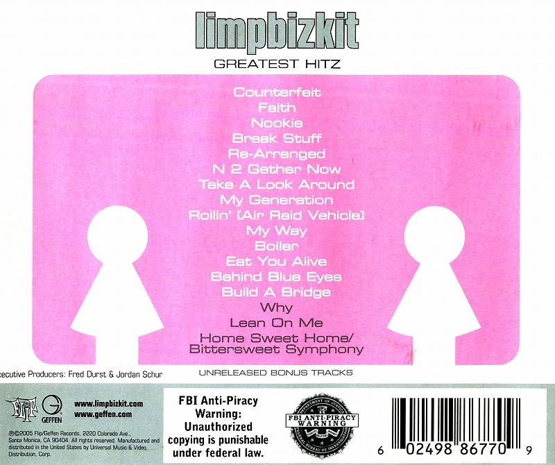 limpbizkit LIMP BIZKIT/GREATEST HITZ リンプ・ビズキット ベスト盤