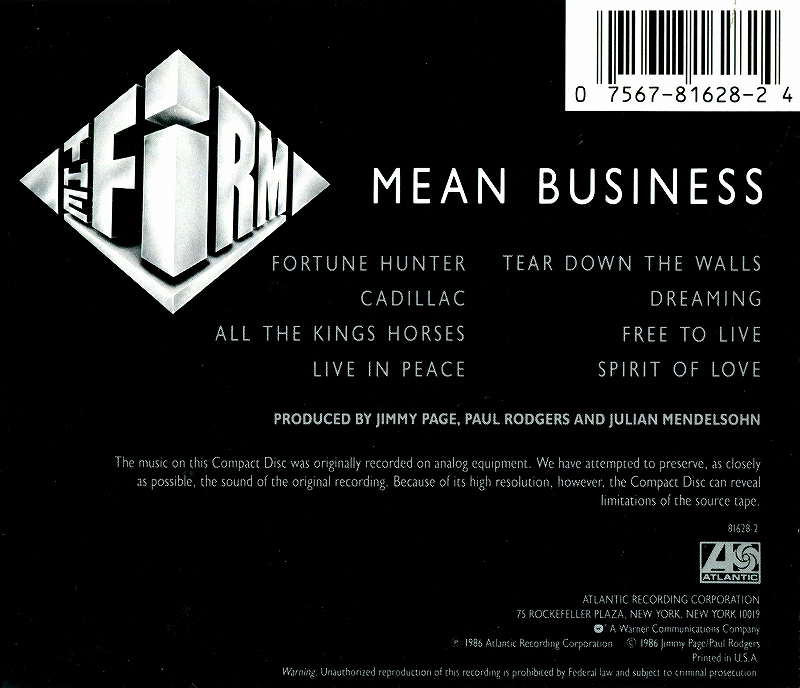 THE FIRM/MEAN BUSINESS ジミー・ペイジ ポール・ロジャース 86年作