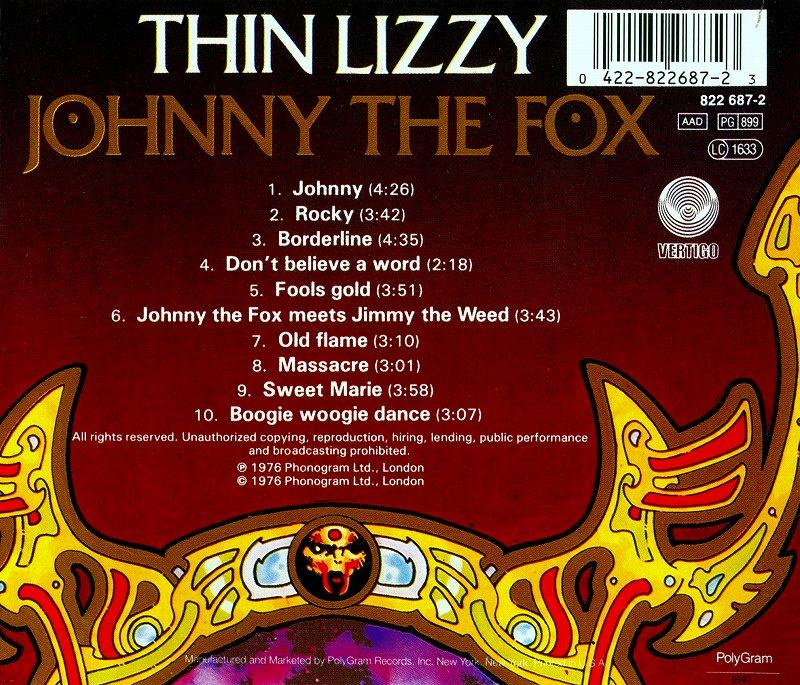 THIN LIZZY/JOHNNY THE FOX シン・リジィ サギ師ジョニー 76年作