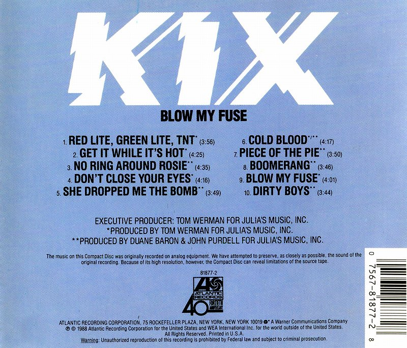 KIX/BLOW MY FUSE キックス ブロウ・マイ・ヒューズ 88年作 必聴盤