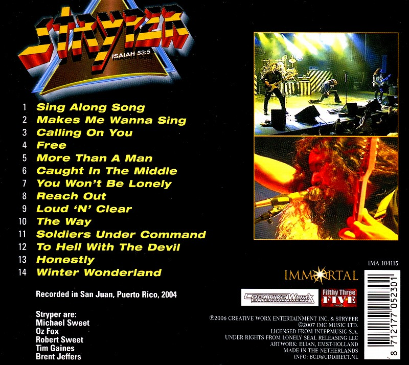 STRYPER/GREATEST HITS LIVE IN PUERTO RICO リユニオン・ツアー ...