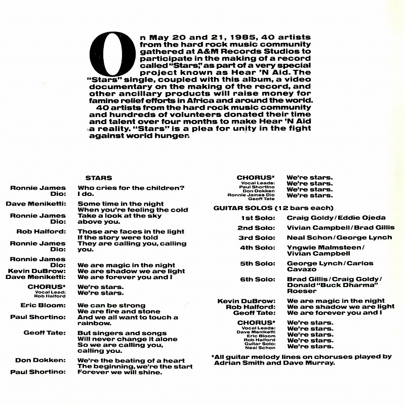 HEAR 'N AID/STARS ヒア・アンド・エイド スターズ 国内盤 85年作