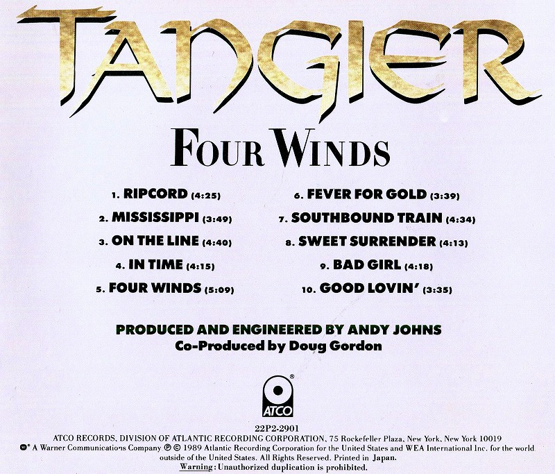 TANGIER/FOUR WINDS タンジアー フォー・ウィンズ 89年作 国内盤