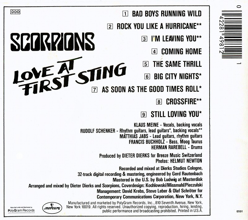 SCORPIONS/LOVE AT FIRST STING 禁断の刺青 スコーピオンズ 84年作