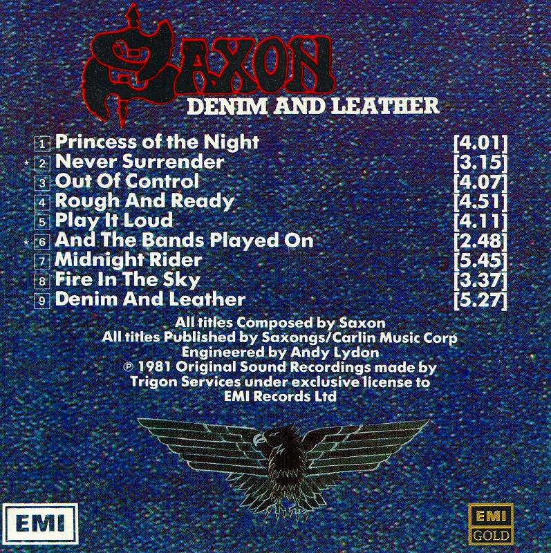 SAXON/DENIM AND LEATHER サクソン デニム・アンド・レザー EMI SWINDON盤