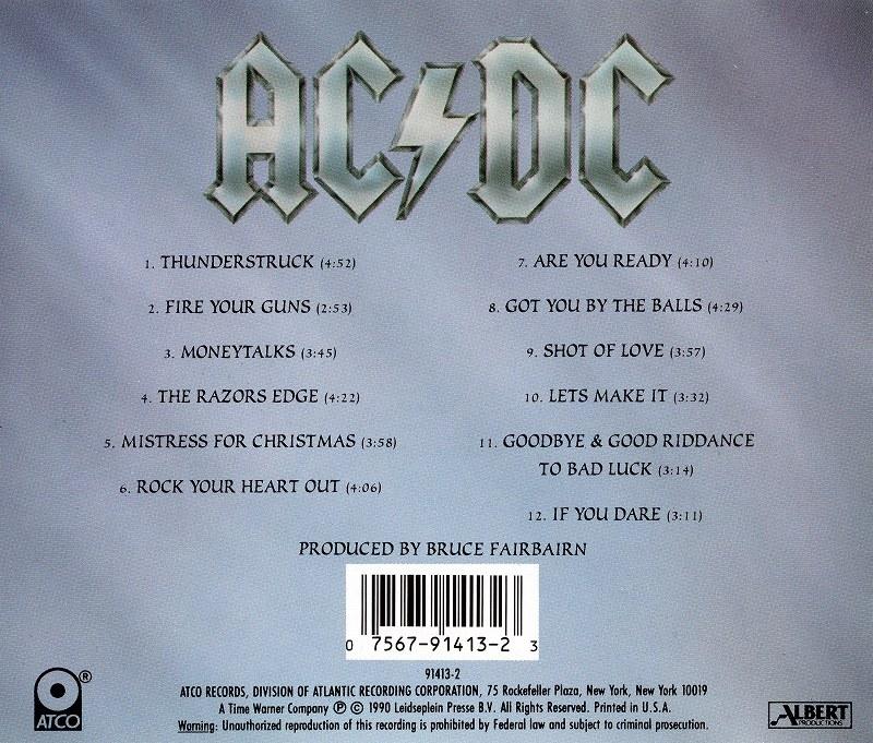 AC/DC THE RAZORS EDGE レイザーズ・エッジ 1990年作 ブルース・フェアバーン