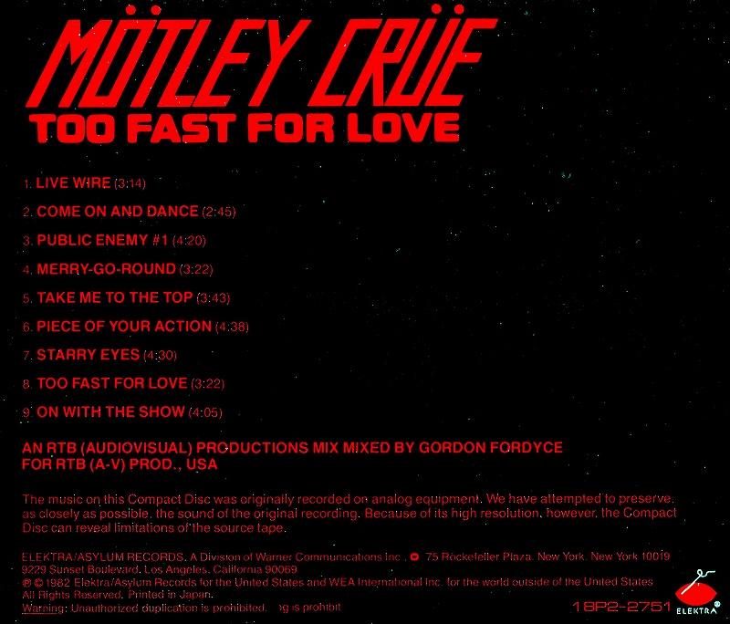 MOTLEY CRUE/TOO FAST FOR LOVE 華麗なる激情 82年作 国内盤