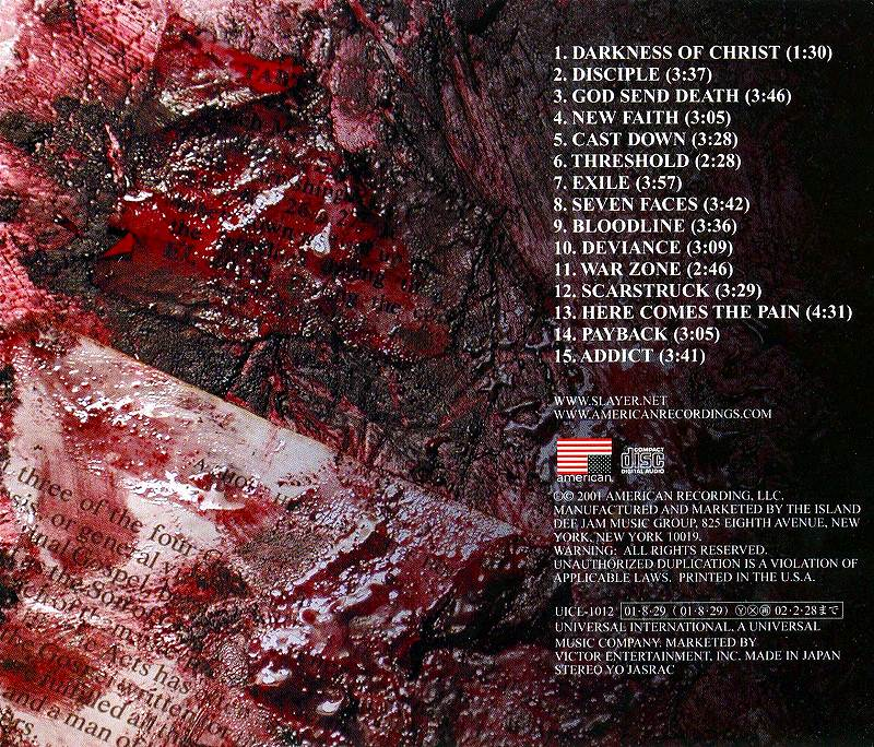 SLAYER/GOD HATES US ALL スレイヤー ゴッド・ヘイツ・アス・オール 01年作