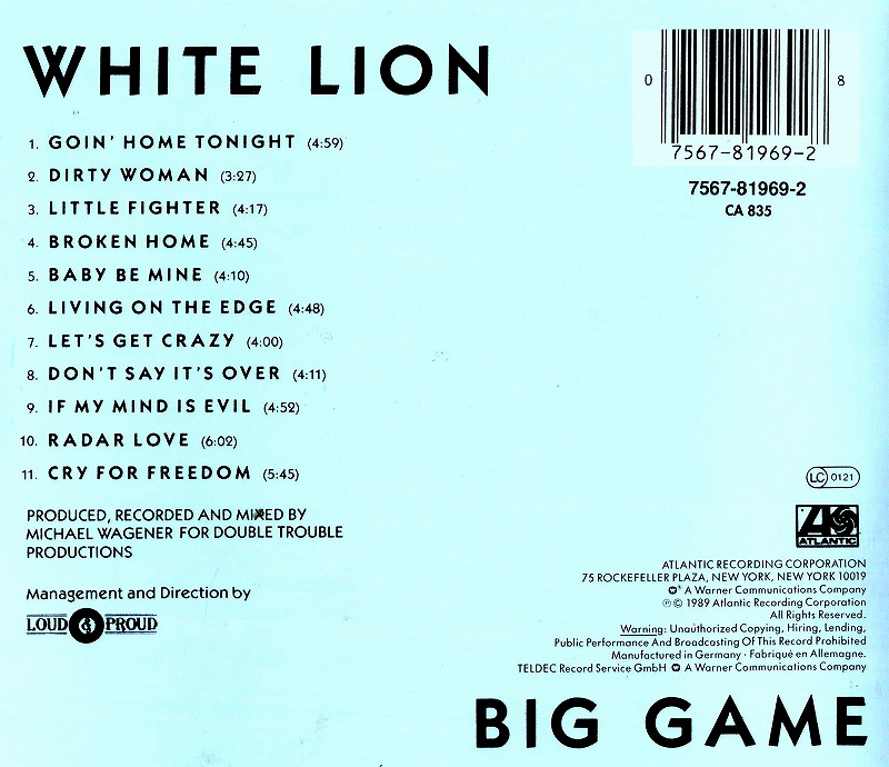 WHITE LION/BIG GAME ホワイト・ライオン ビッグ・ゲーム 89年作
