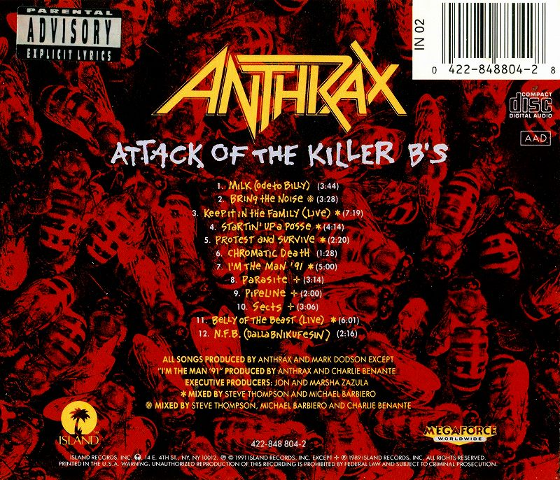 ANTHRAX/ATTACK OF THE KILLER B'S アンスラックス 91年作