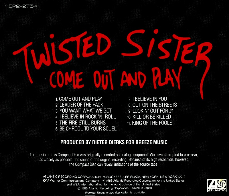 TWISTED SISTER/COME OUT AND PLAY 85年作 トゥイステッド・シスター 国内盤