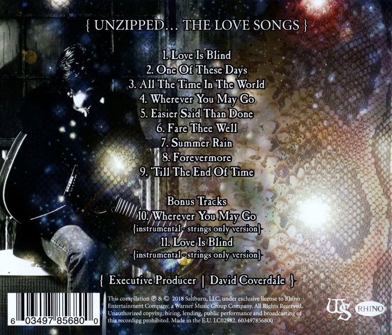 WHITESNAKE/UNZIPED... THE LOVE SONGS 2018年作 ホワイトスネイク