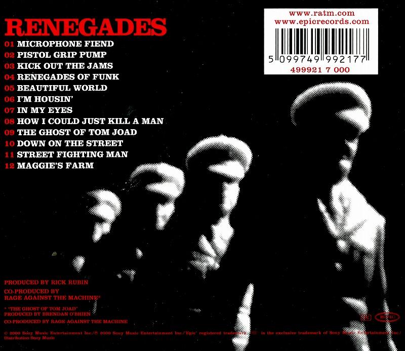RAGE AGAINST THE MACHINE/RENEGADES 2000年作 カヴァー・アルバム