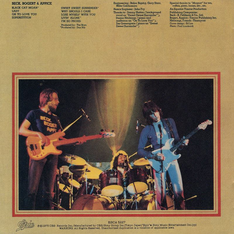 BECK BOGERT APPICE/ベック・ボガート&アピス 73年作 国内盤