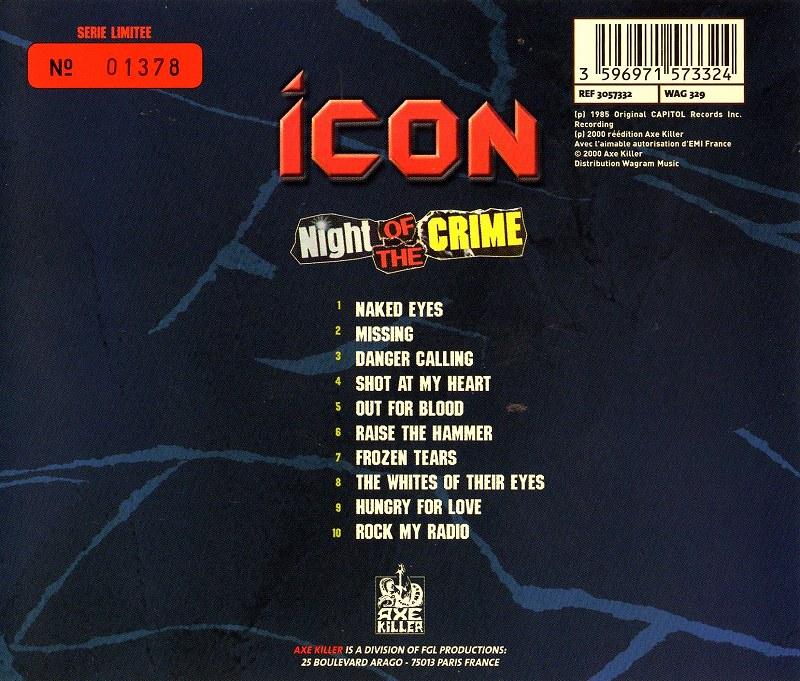 ICON/NIGHT OF THE CRIME アイコン ナイト・オブ・ザ・クライム 85年作 美麗メタル