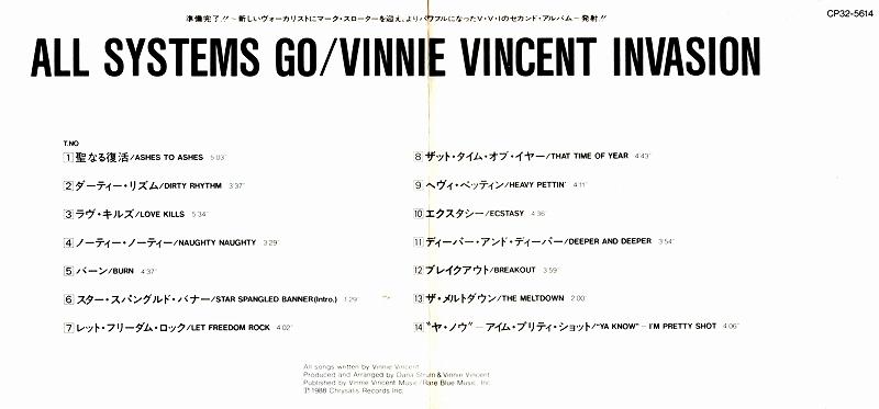 VINNIE VINCENT INVASION/ALL SYSTEMS GO 88年作 国内旧規格盤