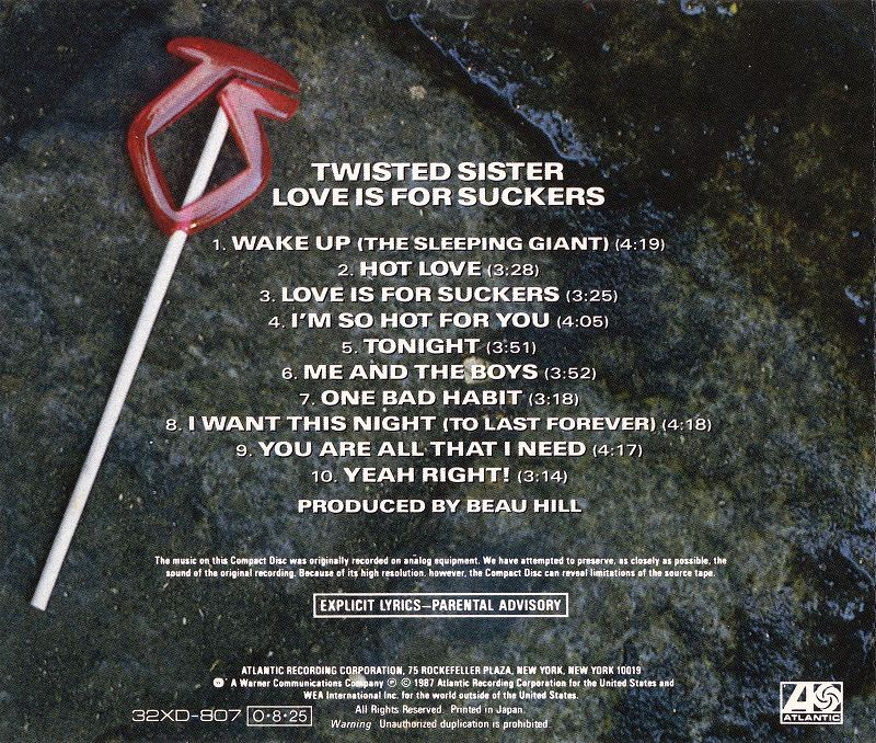 TWISTED SISTER/LOVE IS FOR SUCKERS 87年作 国内旧規格盤