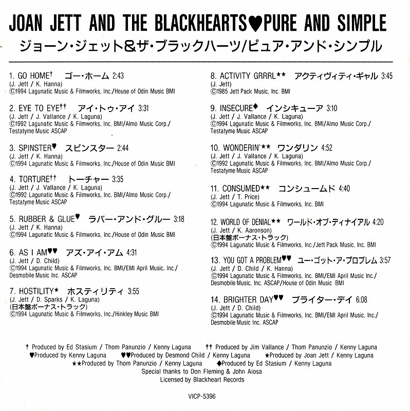 JOAN JETT&THE BLACKHEARTS/PURE AND SIMPLE 94年作 国内盤