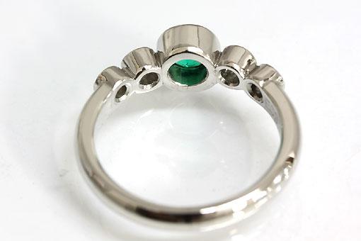 A544-20n0087【エメラルド 0.378cts】Pt900ダイヤモンドリング
