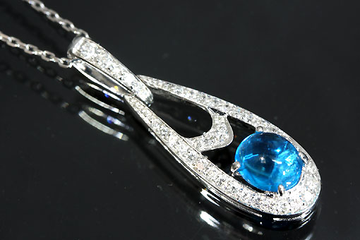 A545-20n0091【アパタイト&ダイヤモンド】K18WGネックレス
