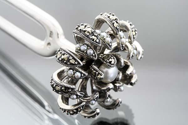 ijt139【碌山】ボタニカル銀の簪