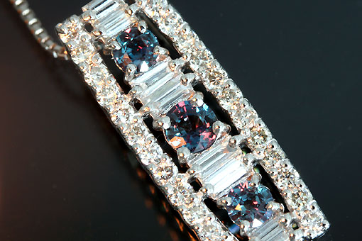 A547-20n0119【アレキサンドライト&ダイヤモンド】Pt900/850ペンダントネックレス