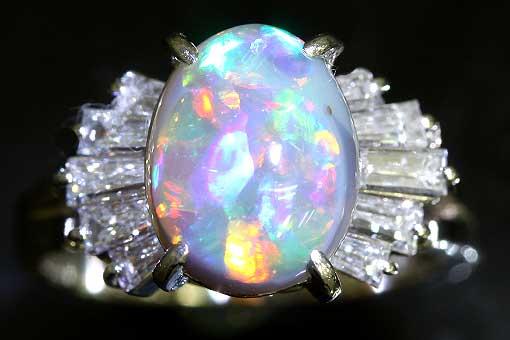 A514-18n0211【オパール 1.74cts】セミアンティークPtダイヤモンドリング