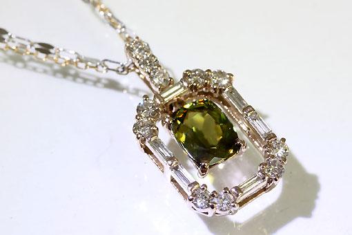 A552-20n0183【スフェーン&ダイヤモンド】K18/WGペンダントネックレス