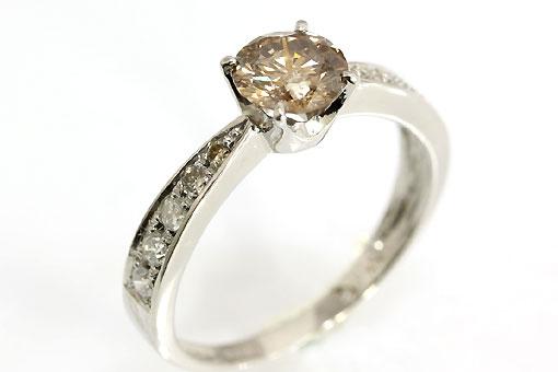 A544-20n0077【ブラウンダイヤモンド 0.742cts】Pt900ダイヤ入りリング
