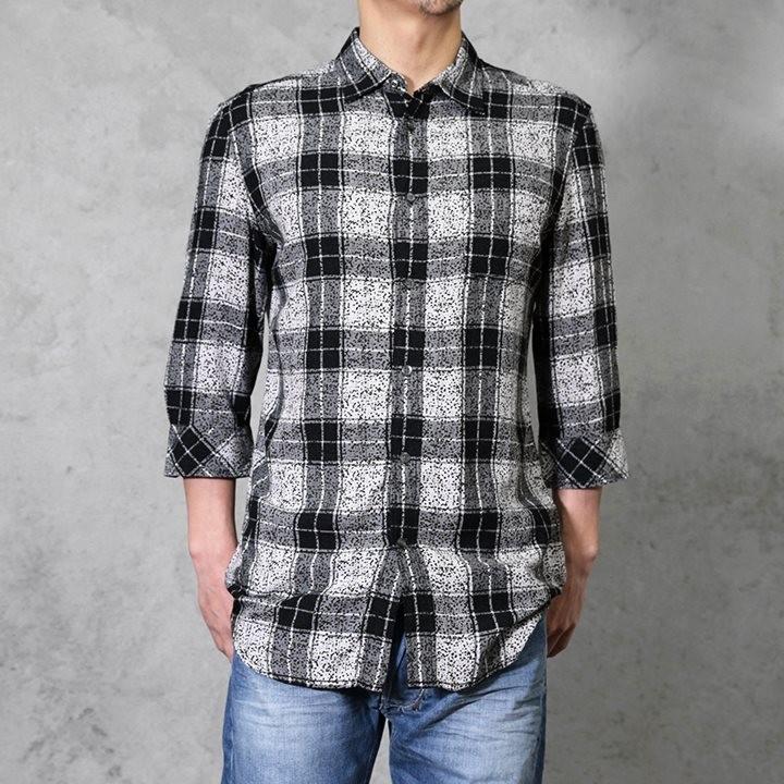 ディーゼル DIESEL カジュアルシャツ メンズ チェック柄 薄手 七分袖 S-GODOR-SHO