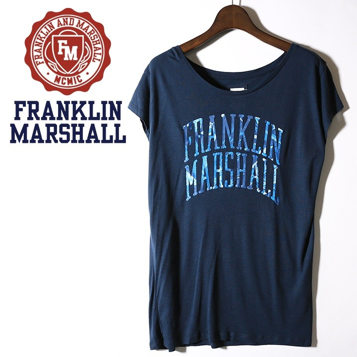 フランクリン&マーシャル FRANKLIN & MARSHALL 半袖Tシャツ レディース ロゴプリント レーヨン さらさら フレンチスリーブ TSHIRT JERSEY ROUND NECK