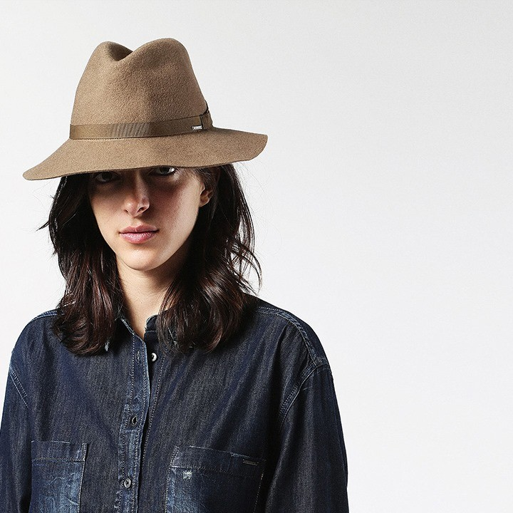 ディーゼル DIESEL 中折れ帽子 メンズ レディース 男女兼用 ウールフェルト 圧縮ウール 同色ブリムリボン 中折れハット CANYE