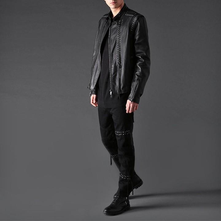 ディーゼルブラックゴールド DIESEL BLACK GOLD レザージャケット メンズ 牛革 本革 編み上げ装飾 ライダースジャケット LATRAC