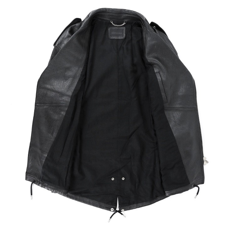 ディーゼルブラックゴールド DIESEL BLACK GOLD レザージャケット メンズ 羊革 本革 裾ドローコード ミドル丈 ライダースジャケット LISTELLY