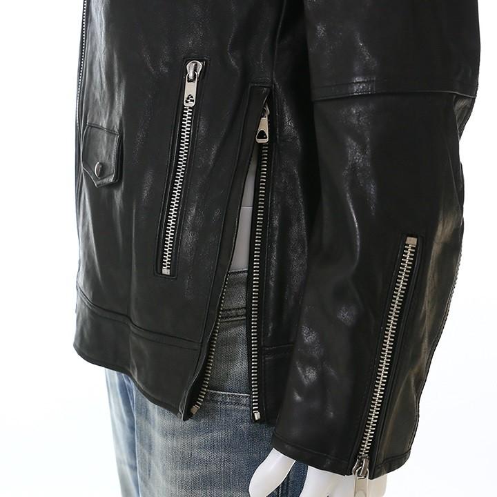 ディーゼルブラックゴールド DIESEL BLACK GOLD レザージャケット メンズ 牛革 本革 サイドジップ ライダースジャケット LOGHAN