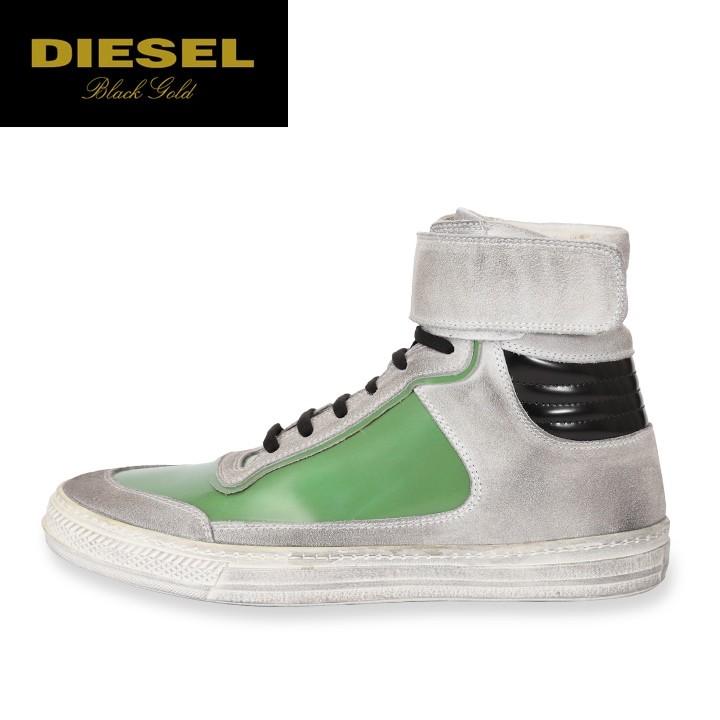 ディーゼルブラックゴールド DIESEL BLACK GOLD レザーハイカットスニーカー 靴 シューズ メンズ 本革 ヴィンテージ汚しユーズド加工スウェード ALEN-MB
