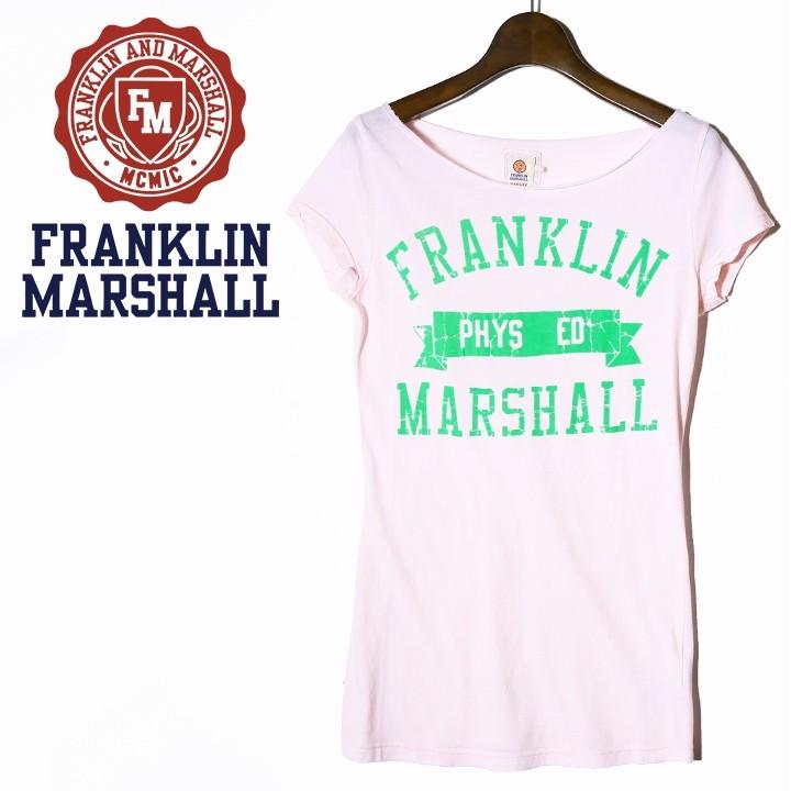 フランクリン&マーシャル FRANKLIN & MARSHALL 半袖Tシャツ カットソー レディース ボートネック フレンチスリーブ TSHIRT JERSEY UNI SHORT