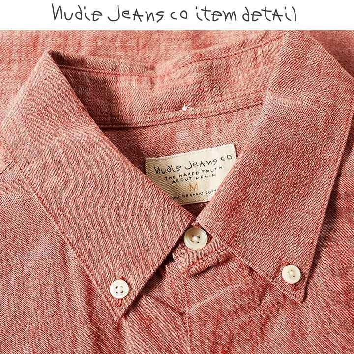 ヌーディージーンズ Nudie Jeans 長袖シャツ メンズ オーガニックコットン シンプル シャンブレーシャツ STANLEY/RED CHAMBRAY
