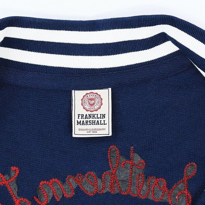 フランクリン&マーシャル FRANKLIN & MARSHALL スタジアムジャンパー レディース ロゴワッペン 刺繍装飾 薄手 スタジャン FLEECE FLEECE TEDDY LONG