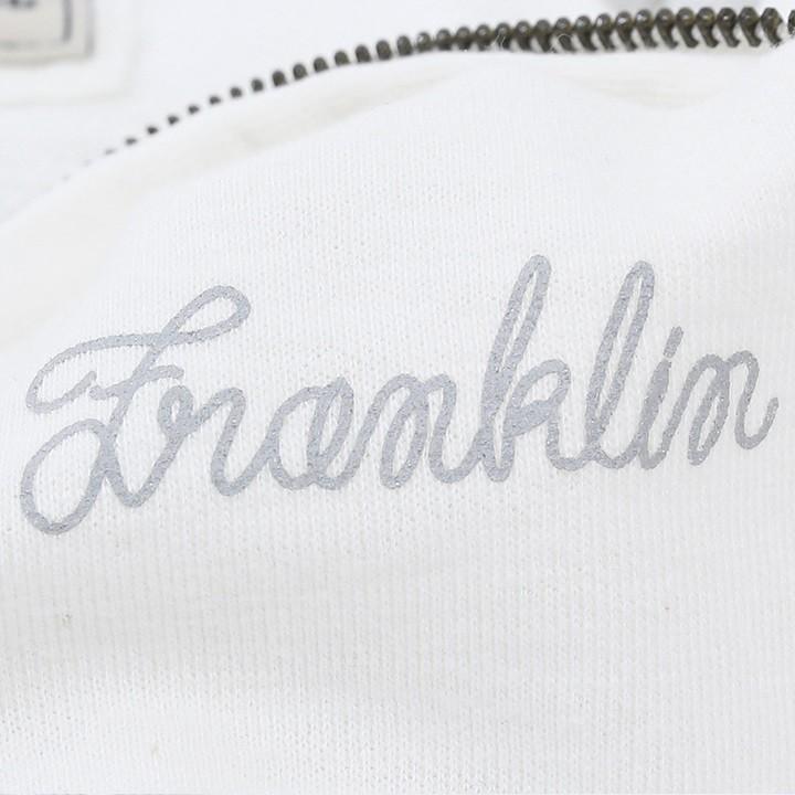 フランクリン&マーシャル FRANKLIN & MARSHALL ジップアップパーカー レディース 花柄切替 バックプリント 薄手 FLEECE FLEECE ZIP+HOOD LONG