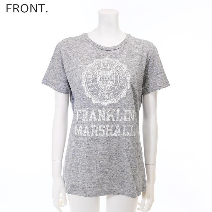 フランクリン&マーシャル FRANKLIN & MARSHALL 半袖Tシャツ レディース ヒビ割れ加工 ロゴプリント TSHIRT JERSEY ROUND NECK SHORT