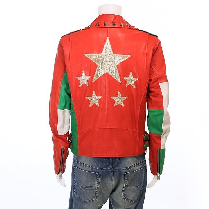 ディーゼル DIESEL ラムレザージャケット メンズ 羊革 本革 星スタッズ イタリアンカラー ライダースジャケット SOVIT-ED