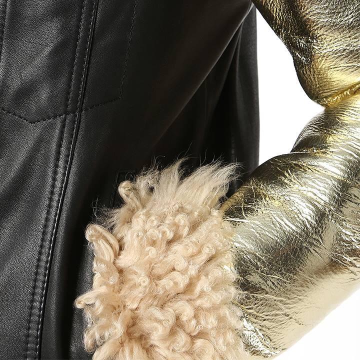 ディーゼル DIESEL ラムレザージャケット メンズ 羊革 本革 袖切替 ボア ENOLA-ED