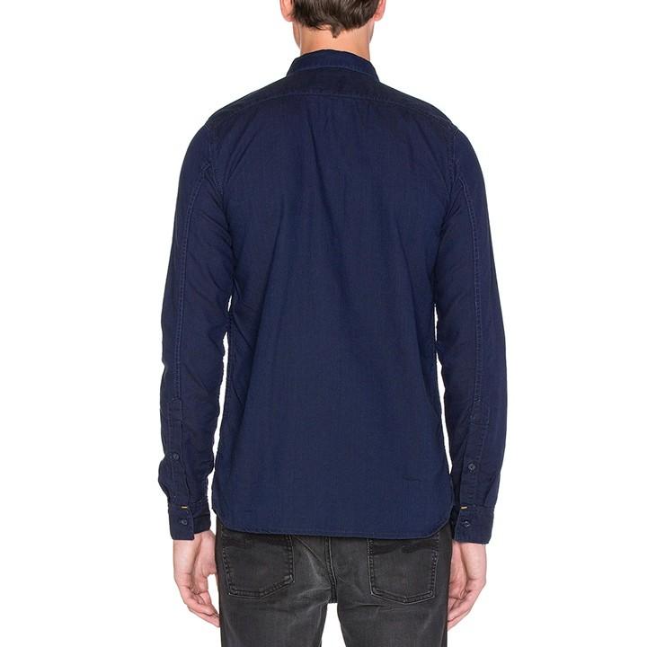 ヌーディージーンズ Nudie Jeans オックスフォードシャツ メンズ 猫目ボタン インディゴ染め 長袖 HENRY/DARK OXFORD