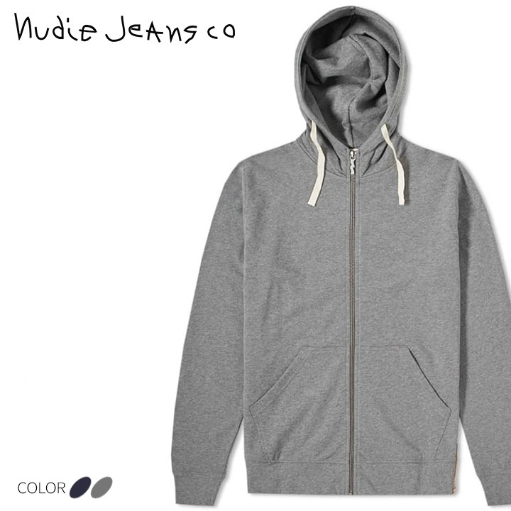 ヌーディージーンズ Nudie Jeans ジップアップパーカー メンズ 霜降り メランジ コットン フードパーカー ELVIN/LIGHT ZIP HOOD