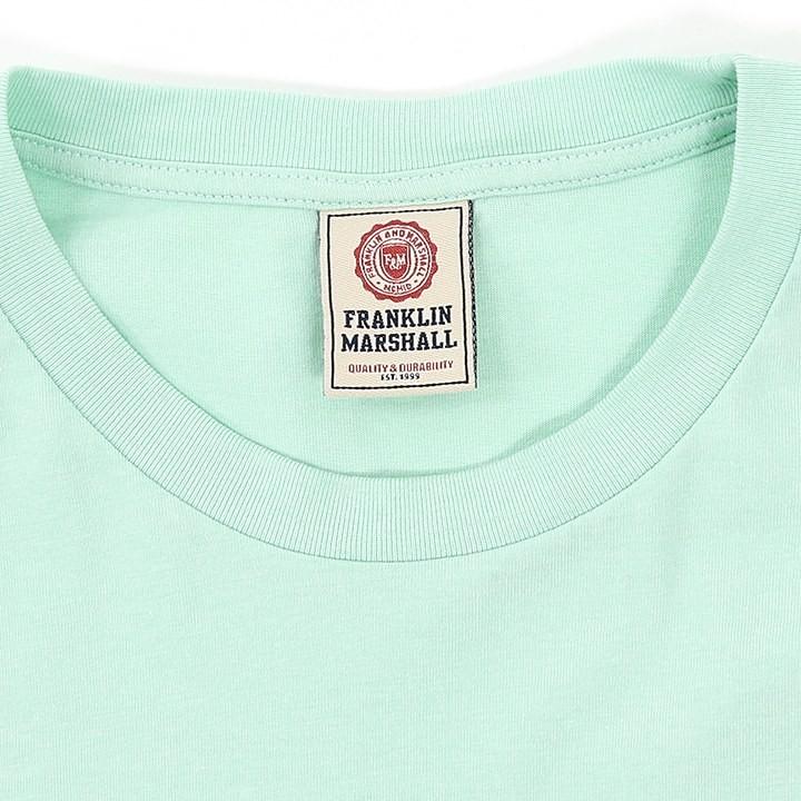 フランクリン&マーシャル FRANKLIN & MARSHALL Tシャツ カットソー レディース ラメロゴプリント ショート丈 半袖 TSHIRT JERSEY ROUND NECK SHORT